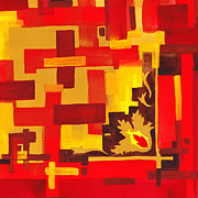 Hot Color Paintings - Soft Geometrics Abstract In Red And Yellow Impression II by Irina Sztukowski