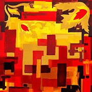 Hot Color Paintings - Soft Geometrics Abstract In Red And Yellow Impression III by Irina Sztukowski