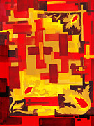 Hot Color Paintings - Soft Geometrics Abstract In Red And Yellow Impression IV by Irina Sztukowski
