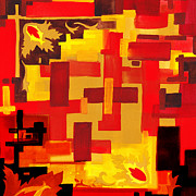 Hot Color Paintings - Soft Geometrics Abstract In Red And Yellow Impression V by Irina Sztukowski