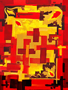 Hot Color Paintings - Soft Geometrics Abstract In Red And Yellow Impression VI by Irina Sztukowski