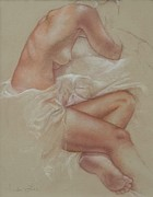 Sepia Chalk Drawings Prints - Soft Repose Print by Heidi Lee
