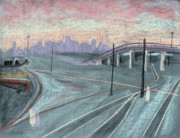 Industrial Art Drawings Prints - Soft Sunset Over San Francisco and Oakland Train Tracks Print by Asha Carolyn Young