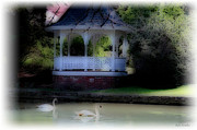 Gazebo Wall Art Posters - Soft Touch 8 Gazebo Lake Poster by Debra     Vatalaro