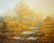 Puddle Painting Prints - Soft Warmth Print by Kiril Stanchev