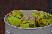 Softball Art - Softballs by Mj Burden