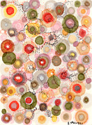 Polka Drawings Prints - Softly bubbling Print by Regina Valluzzi