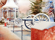 Gazebo Painting Framed Prints - Softly Christmas Snow Framed Print by Kip DeVore