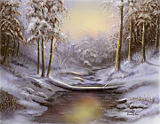 Snow Scenes Digital Art - Softly Falling by Sena Wilson