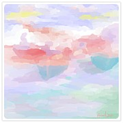 Buy Framed Prints Digital Art Framed Prints - Softly Goes The Boats Framed Print by Melissa Nankervis