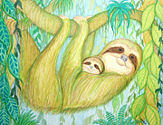 Sloth Drawings Posters - Soggy Mossy Sloth Poster by Nick Gustafson