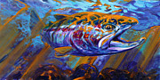 Flyfishing Painting Prints - Sol Duc Steel Print by Mike Savlen