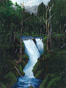 Waterfalls Paintings - Sol Duk Falls Olympic NP by Carlene Salazar