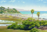 Beach Painting Posters - Solana Beach California Poster by Mary Helmreich