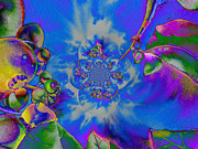 Trippy Digital Art - Solar Blueberry Mandala by H Cooper