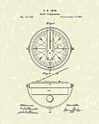 Compasses Prints - Solar Compass 1873 Patent Art Print by Prior Art Design