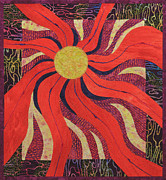 Quilts Tapestries - Textiles Metal Prints - Solar Flare Metal Print by Patty Caldwell