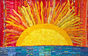 Bright Colors Tapestries - Textiles Prints - Solar Rhythms Print by Susan Rienzo