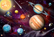 Neptune Digital Art Prints - Solar System 2 Print by Garry Walton