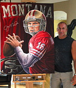 Autographed Paintings - Sold 48 X 36 Inch Original Painting Signed By Montana  by Sports Art World Wide John Prince
