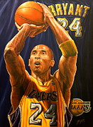 Kobe Art - Sold Bryant  Original Painting  But Have Limited Edition 10 Giclee Prints For Sale by Sports Art World Wide John Prince