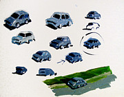 Canvas Panel Prints - SOLD Cars Study Print by Charlie Spear
