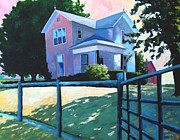 Farmhouse Paintings - SOLD CHILDHOOD HOME Comissioned Work by Charlie Spear
