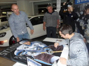 Www.sportsartworldwide.com  Paintings - Sold Martin St. Louis Signing The Original Which Hangs In The Forum Home Of The Lightning by Sports Art World Wide John Prince