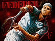 Roger Federer Paintings - Sold Original Roger Federer But Have 10 Limited Edition Canvas Giclee Prints For Sale  by Sports Art World Wide John Prince