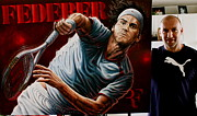 Roger Federer Paintings - Sold Roger Federer  Original Painting But 10 Limited Edition Prints For Sale   by Sports Art World Wide John Prince