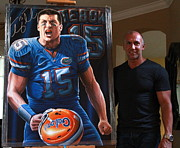 Through My Eyes  Paintings - Sold  Signed Tim Tebow Original Painting by Sports Art World Wide John Prince