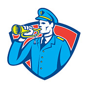 Crest Art - Soldier Blowing Bugle Crest by Aloysius Patrimonio