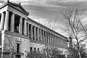 East Side Posters - Soldier Field in Black and White Poster by David Bearden