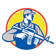 Assault Rifle Prints - Soldier Military Serviceman Assault Rifle Side Retro Print by Aloysius Patrimonio