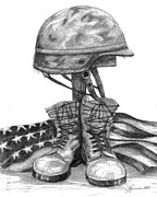 Helmet  Drawings Prints - Soldiers Cross Remember The Fallen Print by J Ferwerda