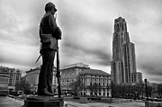 Pittsburgh Posters - Soldiers Memorial and Cathedral of Learning Poster by Thomas R Fletcher