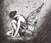 Ink Drawing Art - Solemn Fairy by Celia Fedak