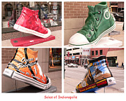 Basketball Shoes Framed Prints - Soles of Indianapolis Framed Print by David Bearden