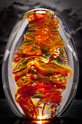 Waves Glass Art - Solid Glass Sculpture 13E5 by David Patterson