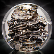Reflective Glass Art - Solid Glass Sculpture 13R9 Black and White by David Patterson