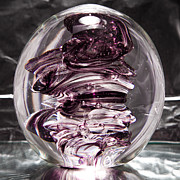 Clear Glass Art - Solid Glass Sculpture RPW Purple and White by David Patterson