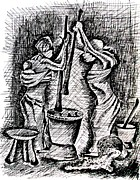 Baskets Drawings - Solidarity In Pounding by Gibu  John Joshua