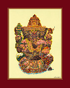 Vinayak Framed Prints - Solitaire Vinayak Framed Print by Santi Arts
