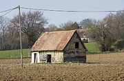 Auge Prints - Solitary barn in ploughed field Pays DAuge Calvados Normandy France Europe Print by Jon Boyes