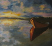 Brent Moody Paintings - Solitary boat by Brent Moody