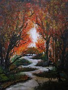 Fall Trees With Stream. Art - Solitude by Erik Coryell