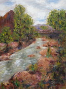 Zion National Park Painting Prints - Solitude Print by Kathy Stiber
