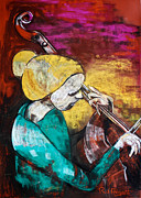 Music Pastels Originals - Solo Cellist by Rosa  D
