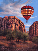 Hot Air Balloon Painting Posters - Solo Crossing Poster by Ricardo Chavez-Mendez