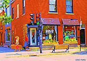 French Signs Paintings - Solo Echantillons Laurier Street Dress Shop Montreal Street Scene Art By Carole Spandau by Carole Spandau